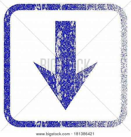 Arrow Down textured icon for overlay watermark stamps. Blue vectorized texture. Flat vector symbol with unclean design inside rounded square frame. Framed blue rubber seal stamp imitation.