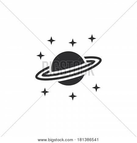 Astronomy Icon Vector, Saturn Planet Solid Logo, Pictogram Isolated On White, Pixel Perfect Illustra