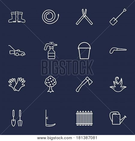 Set Of 16 Farm Outline Icons Set.Collection Of Garden, Firehose, Hatchet And Other Elements.