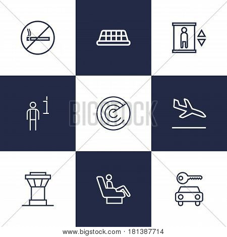 Set Of 9 Airplane Outline Icons Set.Collection Of Detection, Car Rent, Control Tower And Other Elements.