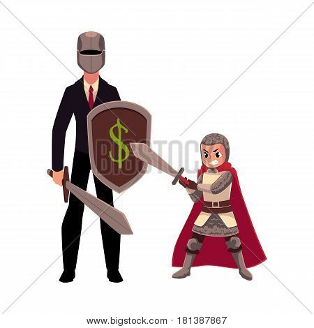 Businessman as knight with helmet, sword, shield, and his armor bearer, squire, cartoon vector illustration isolated on white background. Modern knight in business suit and helmet with armor bearer