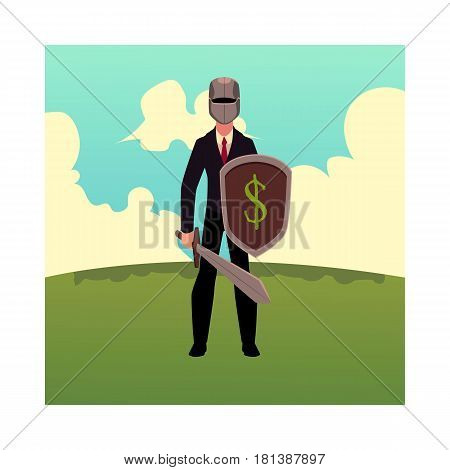 Businessman as a knight in metal helmet holding sword and shield, cartoon vector illustration isolated on white background. Modern knight in business stands on green grass under summer sky