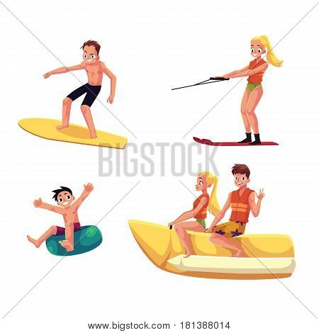 Set of people enjoying summer water activities - banana boat, surfing, water ski, inflatable ring, cartoon vector illustration isolated on white background. People having fun from water activities