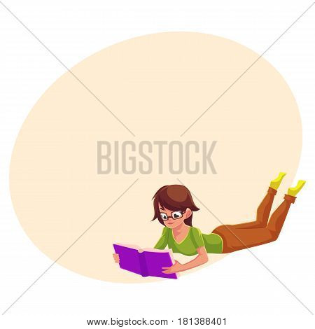 Full length portrait of girl, woman in glasses reading book while lying on her stomach, cartoon vector illustration with space for text. Girl, woman in glasses reading in lying position