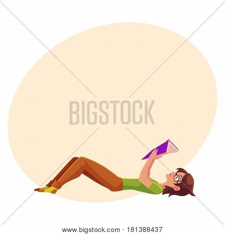 Full length portrait of girl, woman in glasses reading book while lying on her back, cartoon vector illustration with space for text. Girl, woman in glasses reading a book in lying position