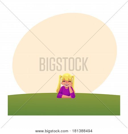 Teenage girl with ponytails of long blond hair lying on green grass under summer sky, colorful cartoon illustration with space for text. Girl, kid, child lying on the grass, summer vacation concept