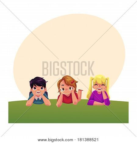 Three happy children lying on green grass under summer sky, colorful cartoon illustration with space for text. Kids, children, friends, girls and boys, lying on grass together, summer activity