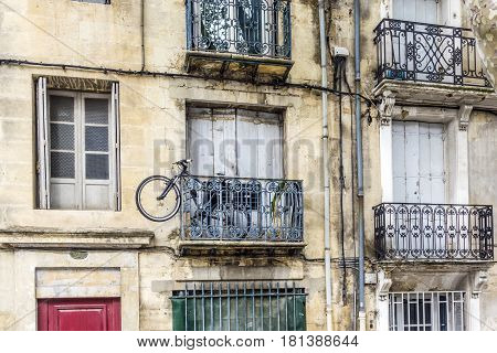 Typical Old House Facade With Balconies Of An Old Traditional House