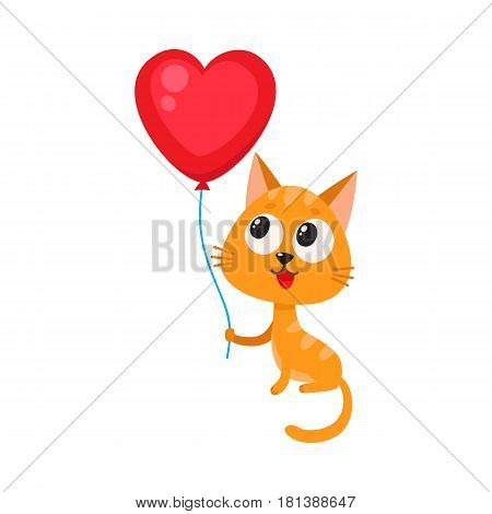 Cute and funny cat, kitten holding red heart shaped balloon, cartoon vector illustration isolated on white background. Cat, kitten holding heart balloon, birthday greeting decoration