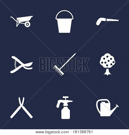 Set Of 9 Farm Icons Set.Collection Of Rake, Wheelbarrow, Hacksaw And Other Elements.