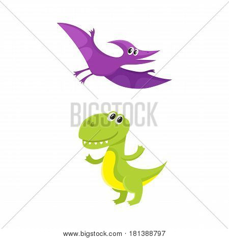 Two funny baby dinosaur characters - tyrannosaurus and pterodactyloidea, cartoon vector illustration isolated on white background. Happy smiling tyrannosaurus and pterodactyloidea dinosaur characters