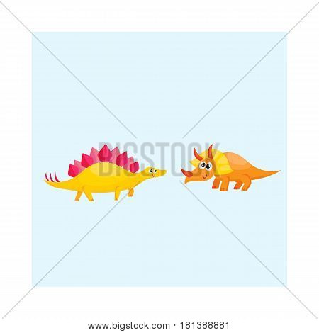 Two cute and funny baby dinosaur characters - stegosaurus and triceratops, cartoon vector illustration isolated on white background. Happy smiling stegosaurus and triceratops dinosaur characters