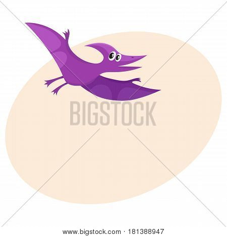 Cute and funny smiling baby pterodactyloidea, flying dinosaur, cartoon vector illustration with space for text. Funny, happy pterodactyloidea, avian dinosaur character, decoration element