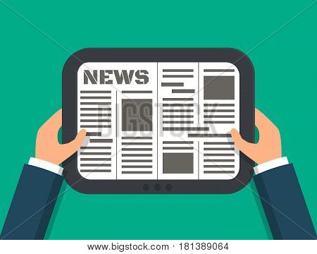 Hands holding digital electronic online newspaper on tablet. EPS10 vector illustration in flat style.