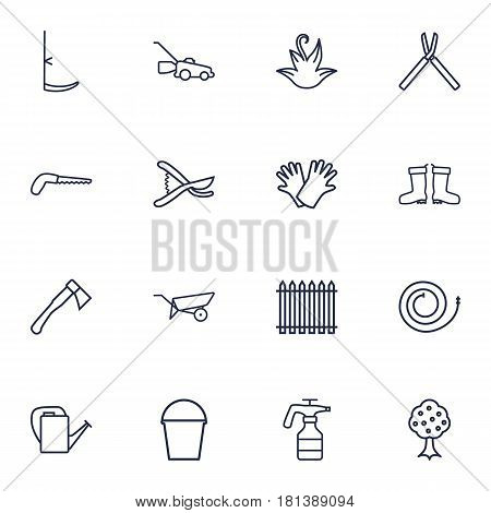 Set Of 16 Household Outline Icons Set.Collection Of Palisade, Firehose, Safer Of Hand Elements.