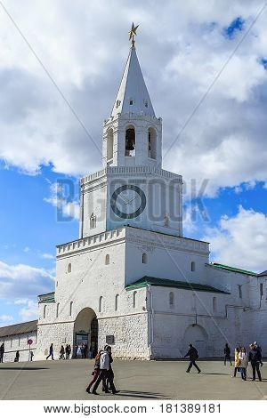 KAZAN, RUSSIA - April 12, 2015: Spasskaya tower of the Kazan Kremlin - the main tower of his travel and architectural monument of the XVI century. Located in the eastern wall of the Kremlin