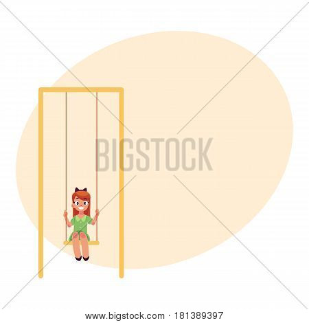 Teenage Caucasian girl in green dress sitting on a swing at the playground, cartoon vector illustration with place for text. Girl swinging on a swing, having fun at the playground