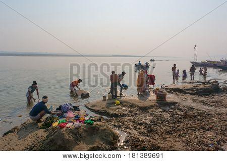 Varanasi, India - December 26, 2014: Laundry In Holy Ganges River, Varanasi, India