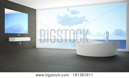 Minimalist white and gray bathroom with big panoramic window summer beach in the background, 3d llustration
