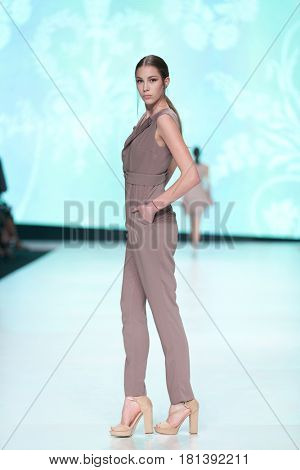 ZAGREB, CROATIA - APRIL 1, 2017: Fashion model wearing clothes designed by Arileo from the spring/summer collection at the 'Fashion.hr' fashion show