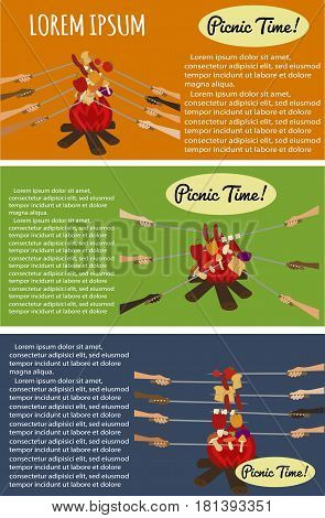 Picnic poster set with human hands around campfire. Vector illustration in flat design. Roasting sausage and vegetables on fire. Outdoor multicultural picnic with barbecue grill food.