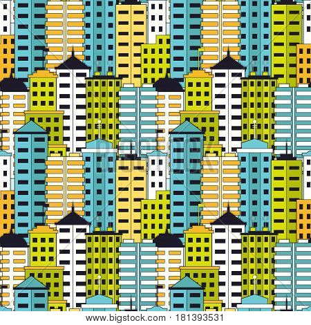 Skyscrapers seamless pattern. Tall modern buildings background. EPS10 vector illustration in flat style.