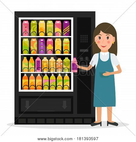 Vending machine with beverages, drinks and a woman. EPS10 vector illustration in flat style.