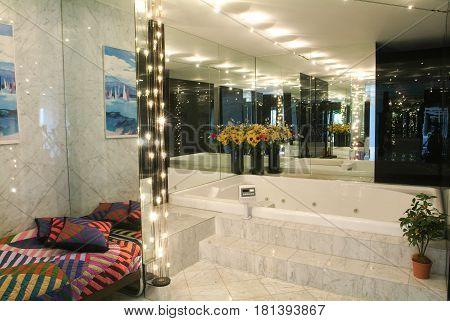 Lugano, Switzerland - 15 April 2014: Luxourious bathroom with jacuzzi