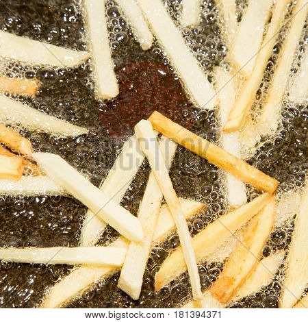French fries are fried in a pan . A photo