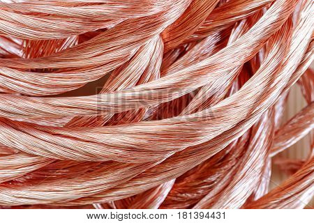 Big pile of copper wire close up