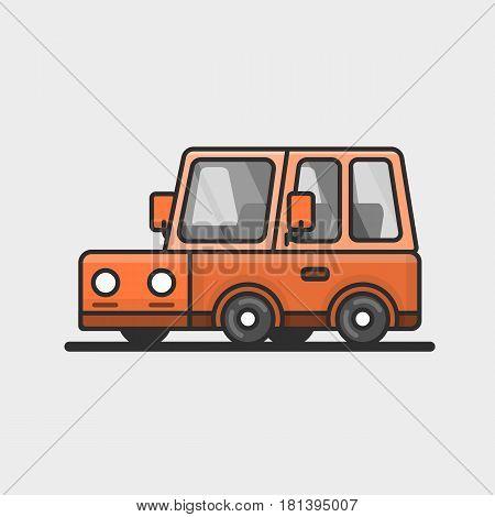 Modern minivan car icon. Flat design. Vector illustration