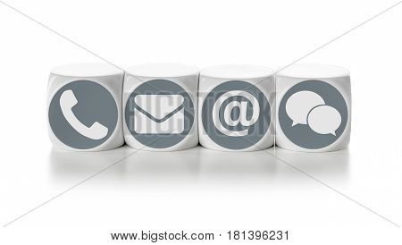 Letter dice on a white background - Contact