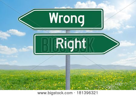 Two green direction signs - Wrong or Right