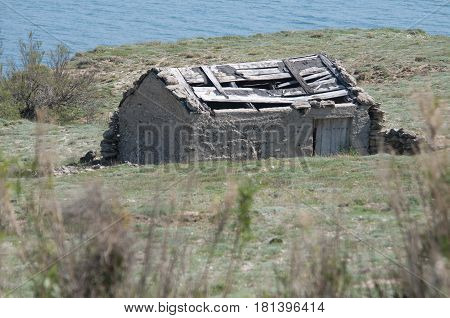 An abandoned shed near the sea in Croatia