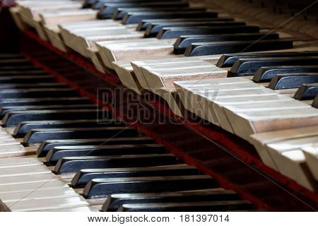 Abstract detail of old broken and dusty organ keys