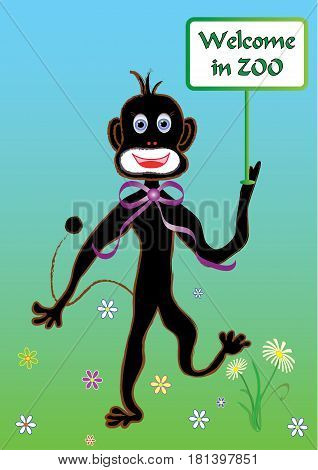 Monkey with banner welcomes in summer ZOO