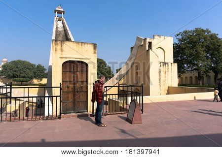 People Visit Astronomical Observatory Jantar Mantar In Jaipur, India