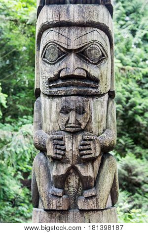Details on an Old Alaskan Totem Pole in the Forest