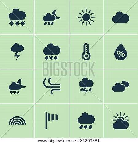 Meteorology Icons Set. Collection Of Sun, Colors, Night And Other Elements. Also Includes Symbols Such As Night, Cloudy, Sleet.