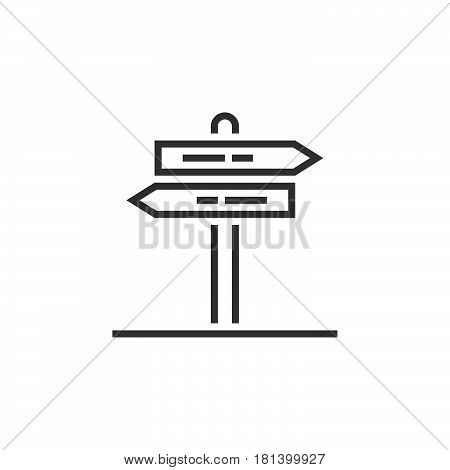 Signpost Line Icon, Outline Pointer Vector Logo, Linear Pictogram Of A Guidepost Isolated On White,