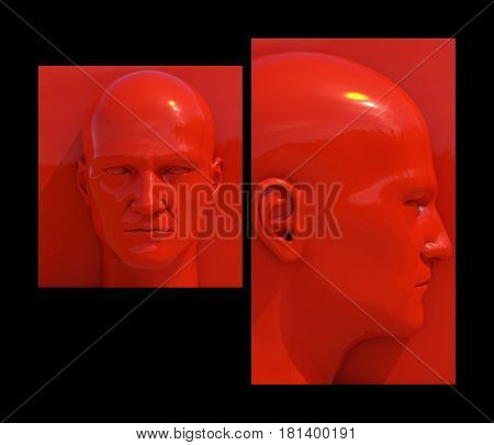 3d render: Realistic 3d Man White and Red Heads