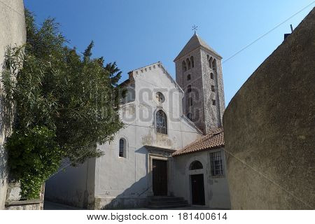 View of the church from the streets of VIlla Olga, Croatia