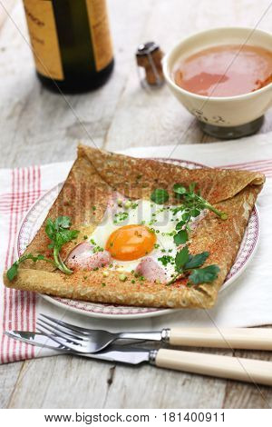 galette sarrasin, buckwheat crepe, french brittany cuisine poster