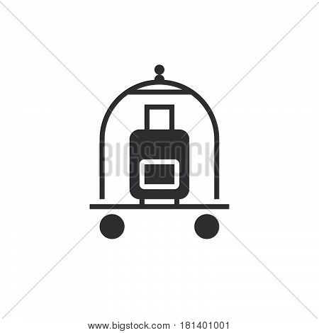 Hotel Luggage Cart Icon Vector, Solid Logo, Pictogram Isolated On White, Pixel Perfect Illustration
