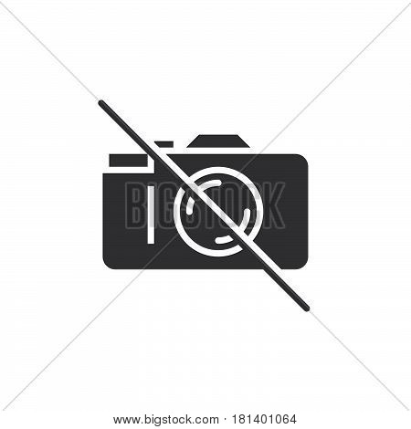 No Photography Icon Vector, Forbidden To Use Camera Solid Logo, Pictogram Isolated On White, Pixel P