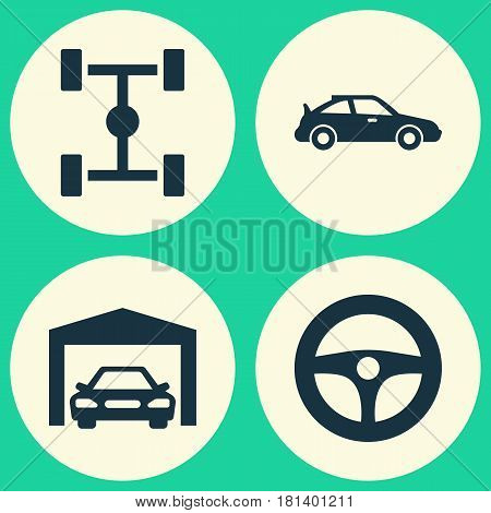Car Icons Set. Collection Of Crossover, Wheelbase, Drive Control And Other Elements. Also Includes Symbols Such As Wheelbase, Steering, Sports.