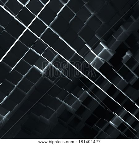 Abstract background from dark cubes. Light between cubes. 3D rendering