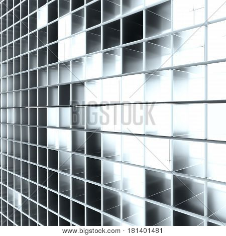 Abstract background from cubes. Light between cubes. 3D rendering