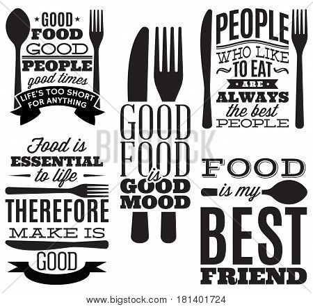 set of vintage typographic food quotes for the menu or t-shift with knife spoon fork