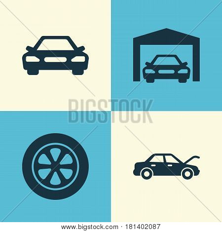 Automobile Icons Set. Collection Of Wheel, Fixing, Repairing And Other Elements. Also Includes Symbols Such As Wheel, Hood, Car.